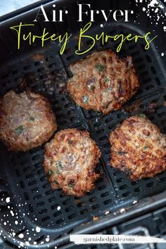 Craving a burger but don't want to fire up the grill? My favorite turkey burger recipe uses only 4 ingredients for delicious results and can be cooked in about 10 minutes using your air fryer! Air Fryer Turkey Recipes, Air Fryer Oven Recipes, Air Frier Recipes, Air Fryer Dinner Recipes, Ground Turkey Recipes, Cooking Turkey Burgers, Ground Turkey Burgers, Grilled Turkey Burgers, Turkey Burger Recipes