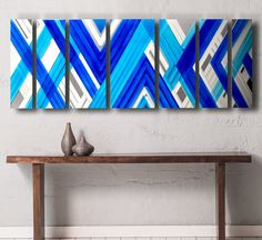 Metal Wall Art - Geometric Wall Art - Metal Wall Sculpture - Mid Century Modern Wall Art - Abstract Art - Contemporary Art - Wall Art Panels - Blue  This is one of my newest pieces, and focuses on strong geometric & abstract shapes to create a uniquely bold graphic statement for your space, and features a beautiful aqua blue, and electric blue color combination, which will make any room feel a little more tropical and serene. Great for creating that center-piece wow factor for your home!...