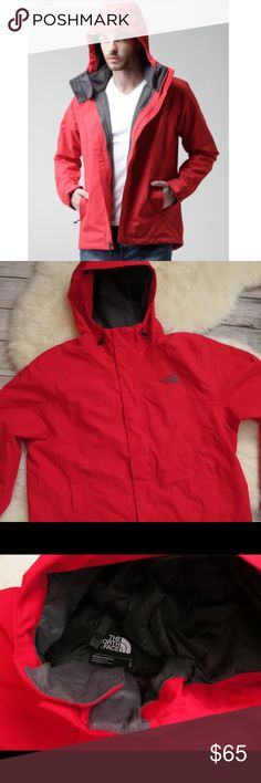 North Face Red Anden triclimate shell rain jacket Ski / rain / snow / windbreaker jacket by The North Face ( hyvent shell ) that you can zip other layers into. Was part of the triclimate snowboarding system but the fleece is being used. New without tags condition. Nice bright red color with contrasting charcoal. Size large. The North Face Jackets & Coats Raincoats