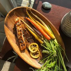 Sriracha Salmon and Capers with Rainbow Carrots