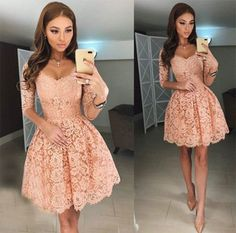 Half Long Sleeves Lace Short Homecoming Dresses Prom Dresses