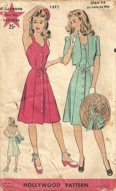 Hollywood 1371 Vintage 40s Sewing Pattern by studioGpatterns, $16.50