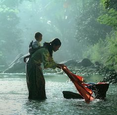 """Love Of A Mother"" by Dewan Irawan --the beautiful setting makes laundry look glamourous."