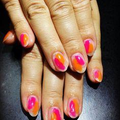 New Nail #セルフネイル #ジェルネイル #ぬりかけネイル #オレンジネイル #ピンクネイル #クリアネイル #夏ネイル #素人ネイル #nail#selfnail#summernail #pinknail#orangenail
