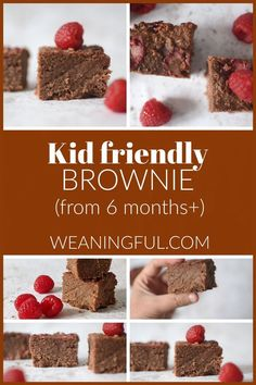 These brownies can be enjoyed by babies, toddlers and older kids and are healthy, nutritious and easy to make. They're soft and can be taken out for a picnic or put in lunchboxes as they keep well at room temperature. In fact, they're even better the next day! They make great finger food from 6 months and up. Healthy Baby Food, Healthy Meals For Kids, Meals For One, Easy Healthy Recipes, Healthy Desserts, Baby Food Recipes, Kids Meals, Baby First Foods, Baby Finger Foods