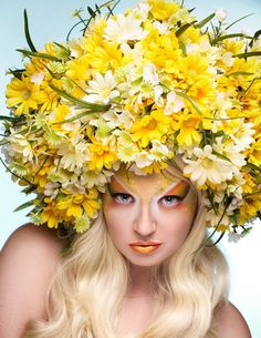 Photographer: Laura Dark Photography Headdress: Miss G Designs Models: Jackie Appel  MUA: On Call Artistry Face & Body Art  headpiece daisies flowers afro spring hat