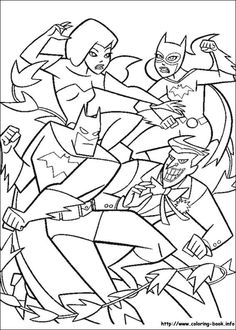 90's cartoon Poison Ivy, Batgirl, Joker  Batman  114 Batman coloring picture