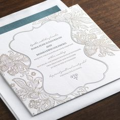 Geranium by Checkerboard - letterpress wedding invitation in hunter and gold ink | Paper & Pearl