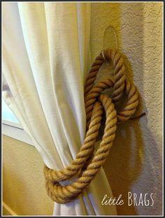 Little Brags DIY Rope Tie Backs plus links to other diy rope curtain tiebacks