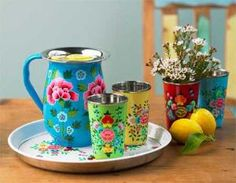 VivaTerra - Flowered Enamel Pitcher, Cups & Trap $39
