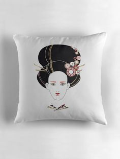 """Japan girl"" Throw Pillows by ptitsa-tsatsa 