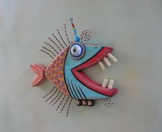 Twisted Piranha Original Found Object Wall Art Wood Carving