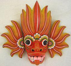 Mythical Raksha (Demon) mask of Sri Lanka representing the paradox Fire-Water (Ginijal)