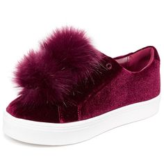Sam Edelman Leya Velvet Pom Pom Sneakers (€45) ❤ liked on Polyvore featuring shoes, sneakers, burgundy velvet, velvet sneakers, burgundy sneakers, slip-on sneakers, elastic shoes and burgundy shoes