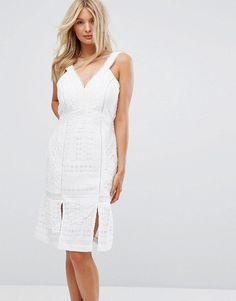 ADELYN RAE JACELYN KICK HEM DRESS - WHITE. #adelynrae #cloth #