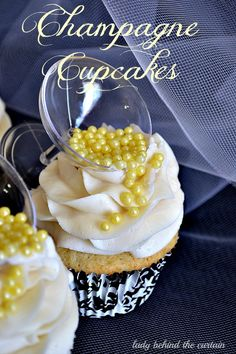 The perfect Bridal Shower cupcake! Add a touch of elegance with these cute champagne glass topped cupcakes. What could be better than a fluffy cupcake!