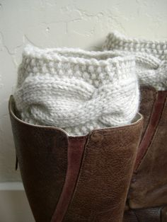 Handknit Leg Warmers - Cream Boot Cuffs - Cable knit boot toppers - Winter accessory - Winter fashion 2014 - mint blue on Wanelo