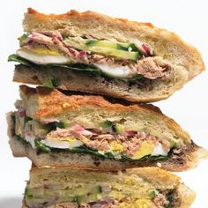 When you're in the mood for something Tuna sandwich inspired by Nicoise salad, a Vietnamese-style sloppy joe, a muffuletta, Italian braised pork with caramelized apples, or a luxurious lobster roll. Salad Sandwich, Sandwich Recipes, Lunch Recipes, Pizza Sandwich, Easy Recipes, Salad Recipes, Sandwiches For Lunch, Wrap Sandwiches, Vegetarian Sandwiches