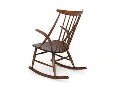 Danish Modern Rocking Chair Design ILLUM WIKKELSO 60s 70s Sessel Schaukelstuhl  5