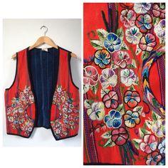 Vintage Embroidered Vest. Embroidered Waistcoat. Vintage Waistcoat. Bohemian Waistcoat. Boho Vest. Festival. Boho. Bohemian. Folk. Vest by Tukvintage on Etsy