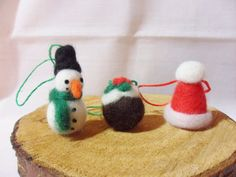 Needle Felted Christmas Decorations  set of 3