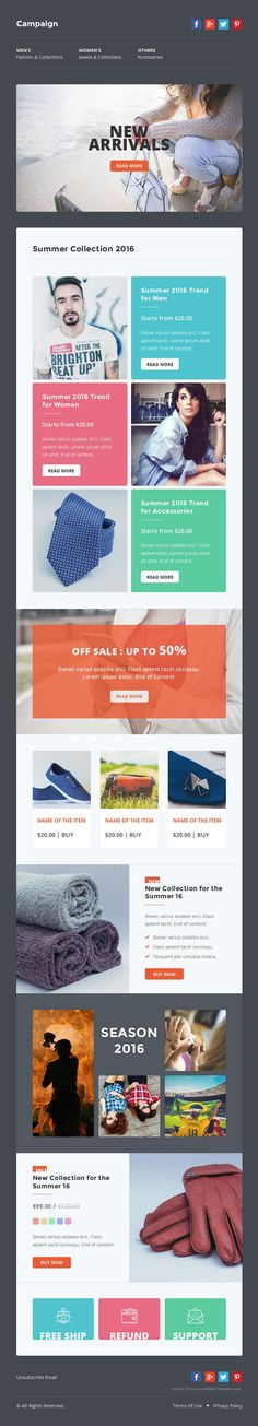 Campaign is a multipurpose email templates designed for corporate, business, office, creative, #fashion, shopping, blogging and general purposes. #Newsletter #emailtheme