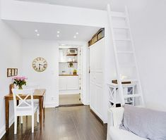 This small apartment is located in Stockholm, within a 1904 vintage building. Only but including bedroom, living room, bathroom and kitchen, it's Small Space Living, Living Spaces, Stockholm, Tiny Studio Apartments, Loft Studio, Garage Remodel, Tiny Spaces, Home Interior Design, Sweet Home