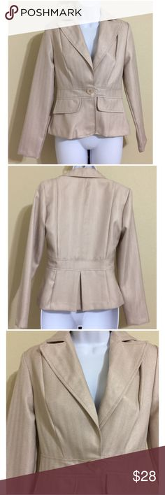 Donutz Inc Blazer Size 3 Donutz Inc Women's Herringbone Blazer Size 3 Beige Color 1 Button Closure Long Sleeve Lined 2 Faux Front Pockets Machine Washable 100% Polyester Armpit to Armpit Approx. 17 Inches Length From Rear Collar Seam Approx. 22 Inches Shoulder Approx. 15 Inches Sleeve From Shoulder Seam Approx. 23 Inches Waist Approx. 29 Inches Compare Measurements To Your Own Well fitting Garment To Ensure A Great Fit MSRP $ 58.00 New With Tag Donutz Inc Jackets & Coats Blazers