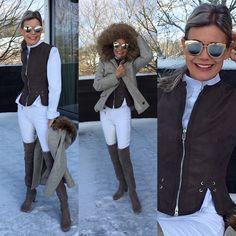 LET IT SNOW  Ausdruckstarke Reithose#HKMSports im winterlichen Weiss, dazu passende weisse Blouse#AlexanderMcQueen, mit einer brandschicker Wildleder-Weste#CW-Design Zürich. En Vogue die kurze geschnittene Jacke mit Kapuze#Duohtavuohta. Hot Stuff, Overknee-Stiefel#Stuart Weizman und#Dior Sonnenbrille. Mens Sunglasses, Design, Fashion, En Vogue, Riding Breeches, Jacket With Hoodie, Dior Sunglasses, Above Knee Boots, Suede Fabric