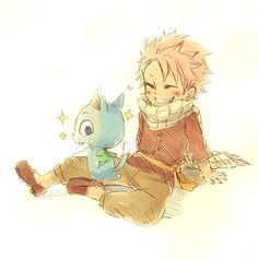 Happy just got his guild tattoo and is showing it off to Natsu?