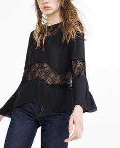 83a67edfe7e62 Image 2 de TOP EN DENTELLE de Zara Chemise Femme, Taille, Dentelle, Noir