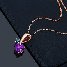 1.00 Ct Purple Amethyst Blue Diamond 18K Rose Gold Plated Silver Pendant