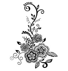 Black-and-white flowers and leaves design element vector 1333366 - by JENYA777LEVCHEN on VectorStock®