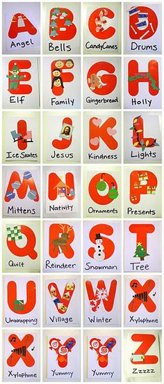Cute Christmas alphabet...a little late for this year but maybe next with unfortunately having to change out Jesus for J