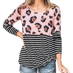 Winter Casual O-neck Long Sleeve Autumn Women Shirts Tops Femme Striped Tees  Leopard Printed aa050955510e