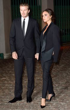 David Beckham and Victoria Beckham. This is what I'm wearing to my best friends wedding as his best man!