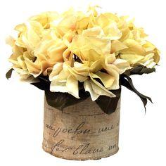 Silk hydrangea arrangement in a French-motifed pot.Product: Faux floral arrangementConstruction Material: Silk, linen ...