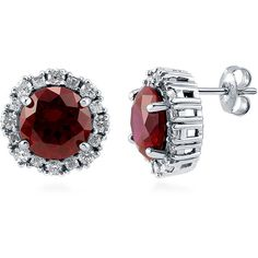 BERRICLE Sterling Silver Round Cut Simulated Ruby CZ Halo Fashion Stud... (80 AUD) ❤ liked on Polyvore featuring jewelry, earrings, ruby, stud earrings, women's accessories, sterling silver post earrings, sterling silver ruby earrings, fake stud earrings and cz earrings