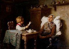 Reading to mother by Johann Georg Meyer von Bremen born October 28, 1813 in Bremen, Germany died December 4, 1886 (73) in Berlin, Germany
