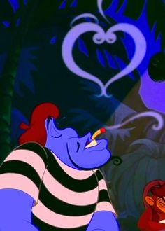 Genie lamenting about love while playing cards. Aladdin 1992, Aladdin Movie, Genie Aladdin, Walt Disney, Disney Love, Disney Magic, Disney Men, Disney Jasmine, Aladdin And Jasmine