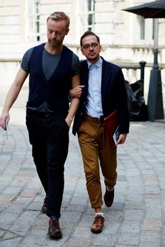 On the street men  in london -http://www.thesartorialist.com/photos/on-the-street-men-friends-london/