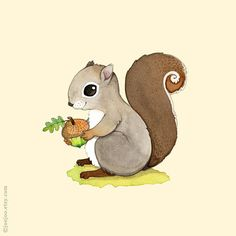 woodland nursery, squirrel watercolor painting
