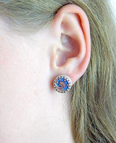 Azure stud earrings.