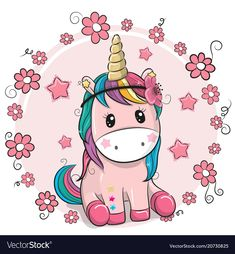 Greeting card Cute Cartoon Unicorn with flowers on a pink background. Download a Free Preview or High Quality Adobe Illustrator Ai, EPS, PDF and High Resolution JPEG versions. ID #20730825.