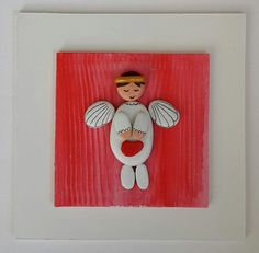 Pebble Art / Stone Art, White Wooden Board, White Angel with wings , Eco Friendly, Hand Painted, Natural