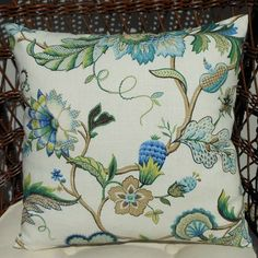 2 COLORS//Brissac Jacobean Floral on Ivory by PrestonStreetPillows, $30.00