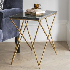 Stellar Green Marble Side Table