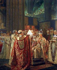 """King Edward VII (Albert Edward) (1841-1910) UK, at his Coronation in 1902 by Laurtis Regner Tuxen. He chose to reign under the name Edward VII instead of Albert Edward—the name his mother had intended for him to use saying he did not wish to """"undervalue the name of Albert"""", but it was an insult to his deceased mother who deeply loved his father Albert.  His wife was Queen Alexandra """"Alix"""" (1844–1925) Denmark. He was 2nd child of Queen Victoria (1819-1901) UK & Prince Albert (1819-1861)…"""