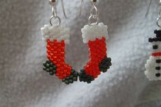 Items similar to Brick Stitched Delica Bead Earrings Stockings on Etsy Beaded Christmas Ornaments, Christmas Earrings, Christmas Jewelry, Christmas Stockings, Beading Projects, Beading Tutorials, Beading Patterns, Seed Bead Jewelry, Bead Earrings