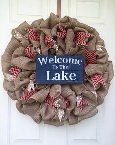 Lake Burlap Wreath, Lake Wreath, Summer Wreath by DesignsbyErinSaleeby on Etsy https://www.etsy.com/listing/237995350/lake-burlap-wreath-lake-wreath-summer